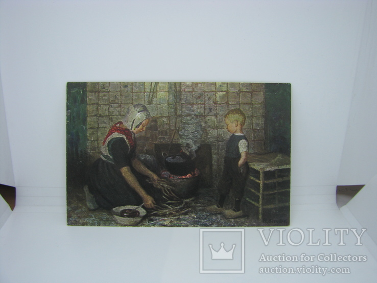 Открытка Мама с сыном готовит ужин. с маркой Рейха, фото №2