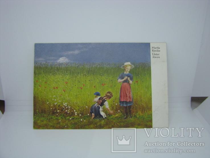 Открытка Девочки собирают цветы в букет. чистая, фото №2
