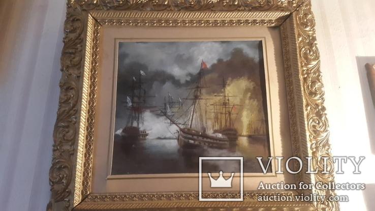 Картина в раме морской бой, картон,масло