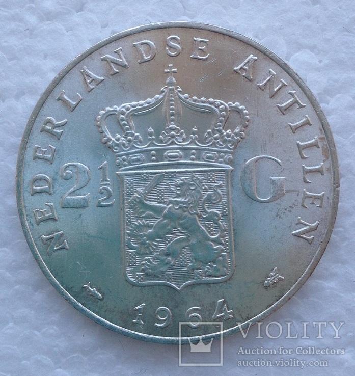 Нидерландские Антилы 2,5 гульдена 1964 серебро Юлиана