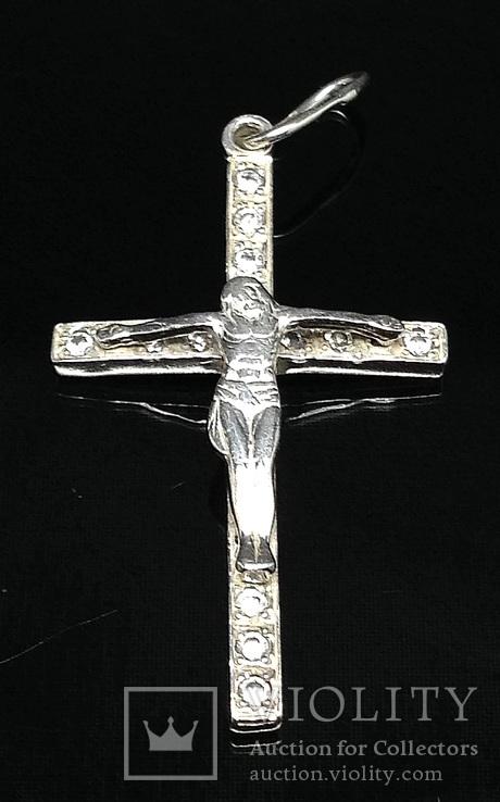 Крестик, цирконы, фото №2