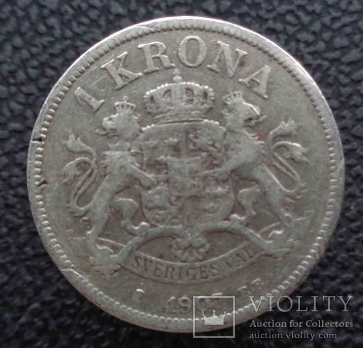 Швеция 1 крона 1907 серебро, фото №2