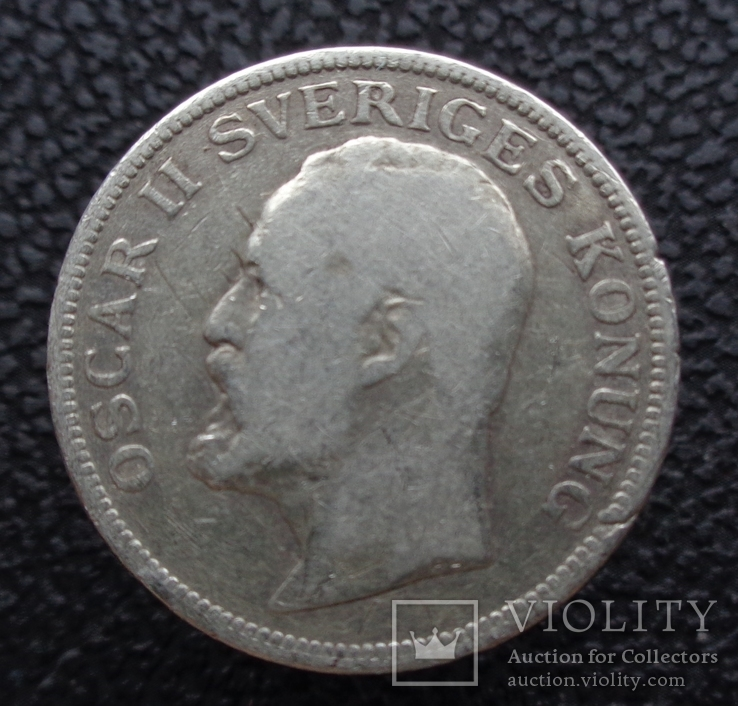 Швеция 1 крона 1907 серебро, фото №3
