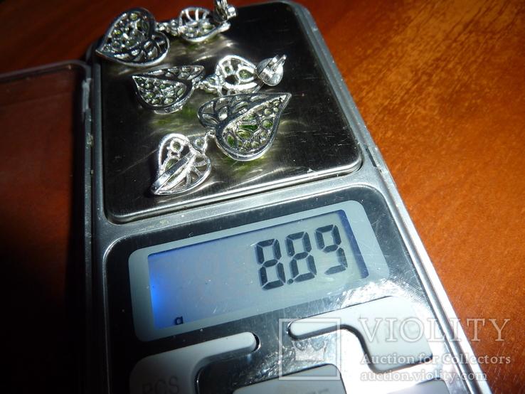 Гарнитур с натуральными диопсидами и хризолитами, фото №3