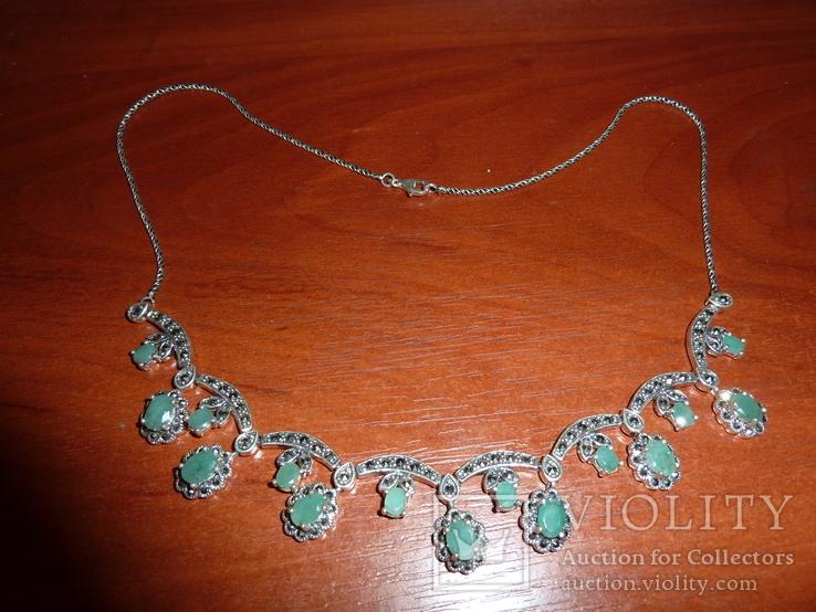 Ожерелье с натуральными изумрудами в стиле *винтаж*