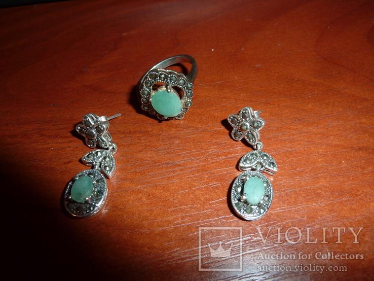 Ожерелье с натуральными изумрудами в стиле *винтаж*, фото №3