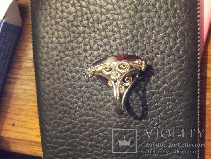 Кольцо янтарь металл 18р, фото №4