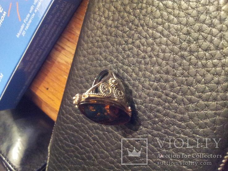 Кольцо янтарь металл 18р, фото №6