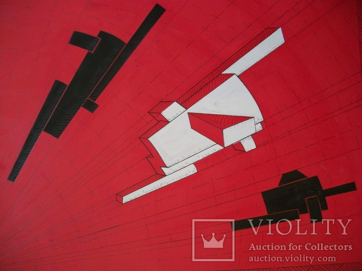Картина. Абстракция на красном ватмане, тушь, краска, карандаш. Размер 48*68 см
