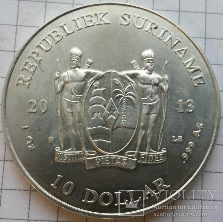 Суринам, 10 долларов 2013 года, серебро 31,38 грамма