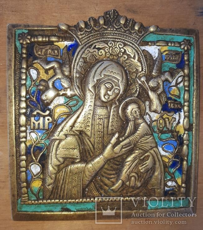 Бронзовая литая икона,, Богоматерь Страстная