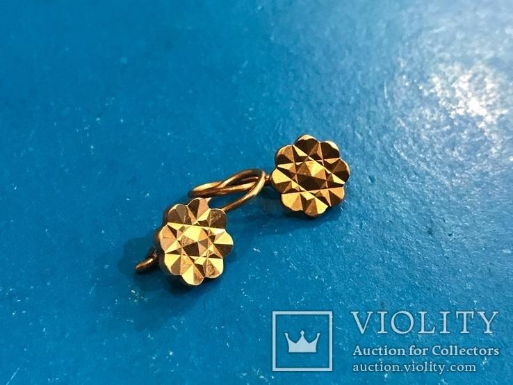 Серьги золото 583, проба СССР 2,89 гр., фото №2
