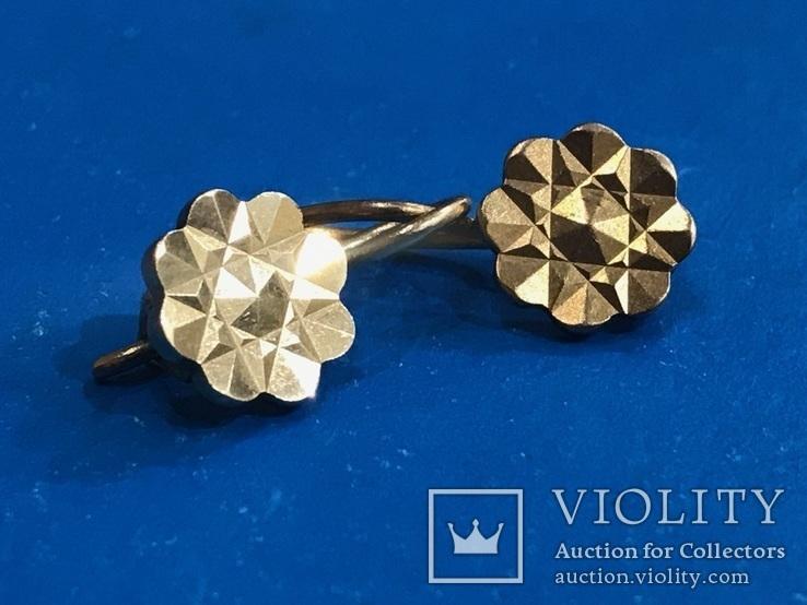 Серьги золото 583, проба СССР 2,89 гр., фото №5