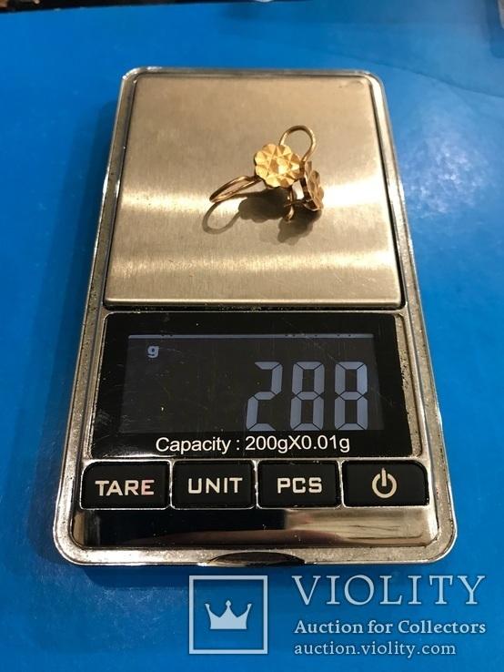 Серьги золото 583, проба СССР 2,89 гр., фото №7