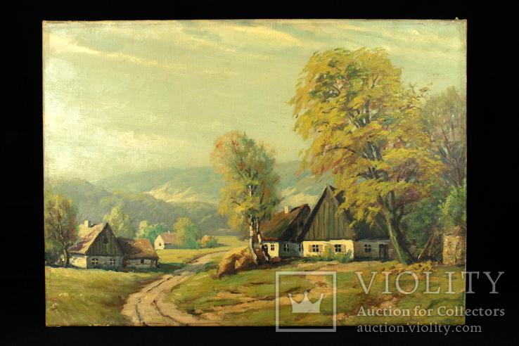 Деревенский пейзаж. На подрамнике. Холст. Масло. (0048)