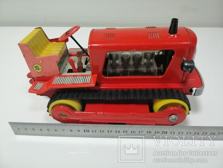 Раритетная игрушка ГДР бульдозер из жести., фото №4