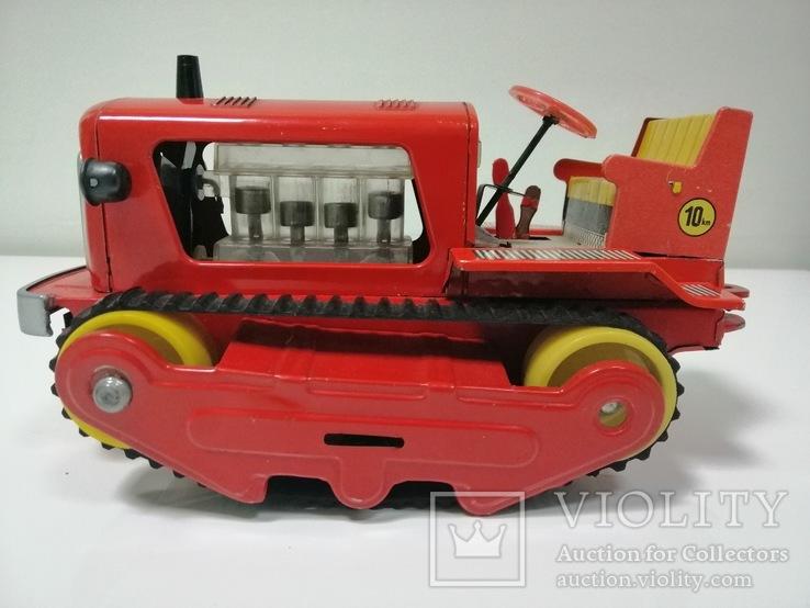 Раритетная игрушка ГДР бульдозер из жести., фото №7
