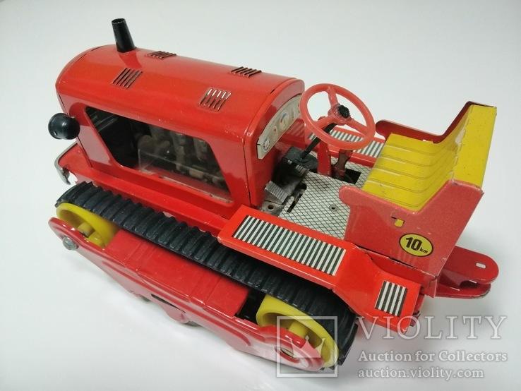 Раритетная игрушка ГДР бульдозер из жести., фото №8