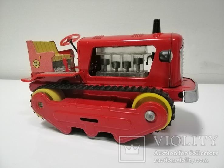 Раритетная игрушка ГДР бульдозер из жести.