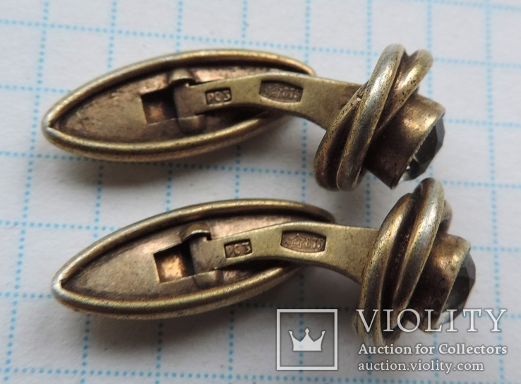 Запонки серебро 875 №50, фото №10