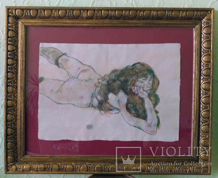 Античная картина, акварель на толстой бумаге, в раме, подпись