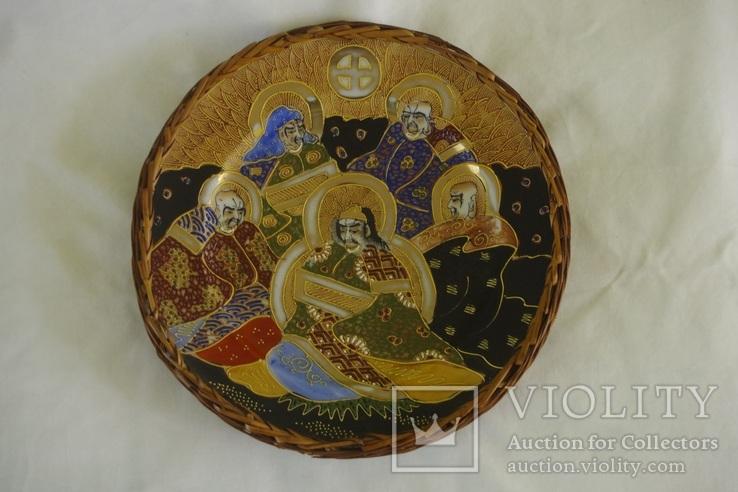 Японская тарелка сатсума пр. 1945 - 50 гг В оплёте