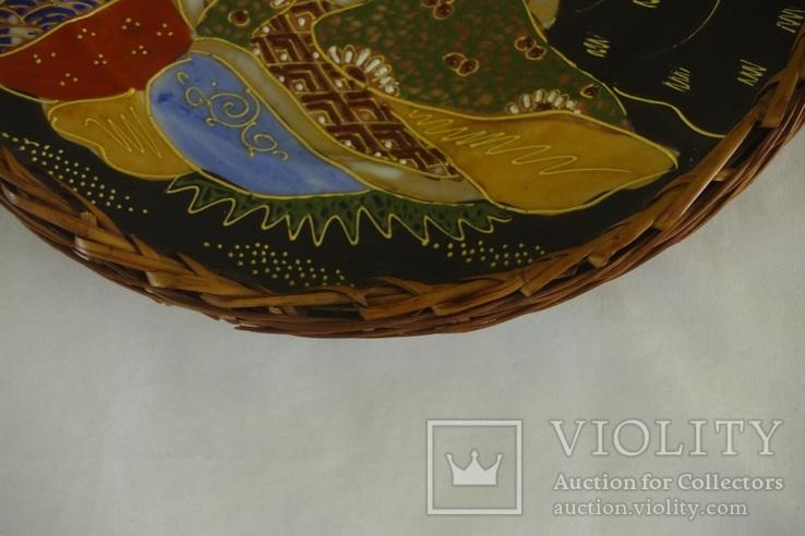 Японская тарелка сатсума пр. 1945 - 50 гг В оплёте, фото №3