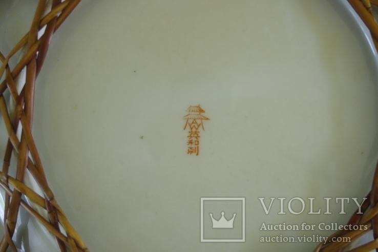 Японская тарелка сатсума пр. 1945 - 50 гг В оплёте, фото №6