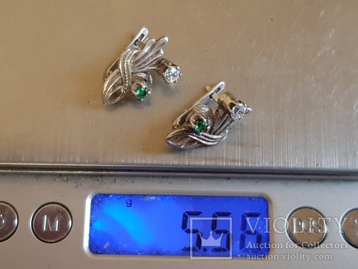 Серьги серебро 925 проба камни. Вес 5.56 г, фото №7