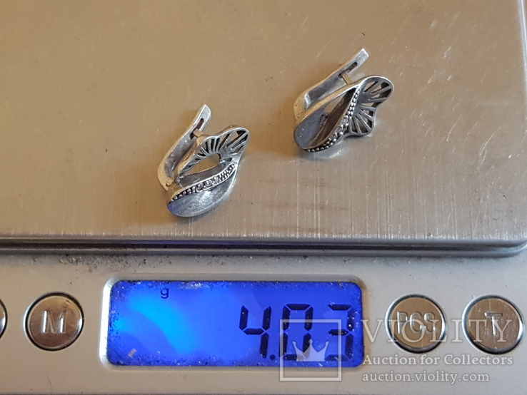 Серьги серебро 925 проба камни. Вес 4.3г, фото №6