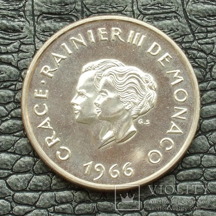 Монако 10 франков 1966 10-летие свадьбы князя Ренье и Грейс Келли, фото №5