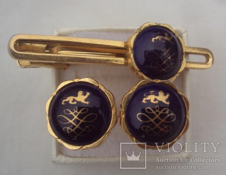 Фирменные запонки и зажим для галстука Royal Copenhagen Denmark., фото №2