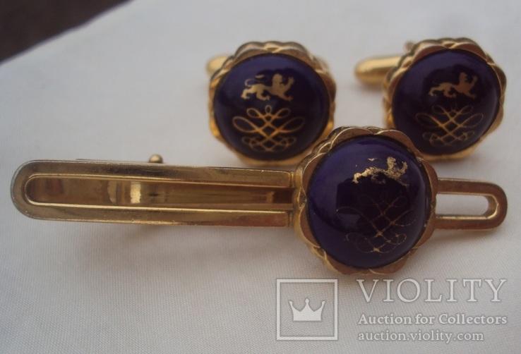 Фирменные запонки и зажим для галстука Royal Copenhagen Denmark., фото №3