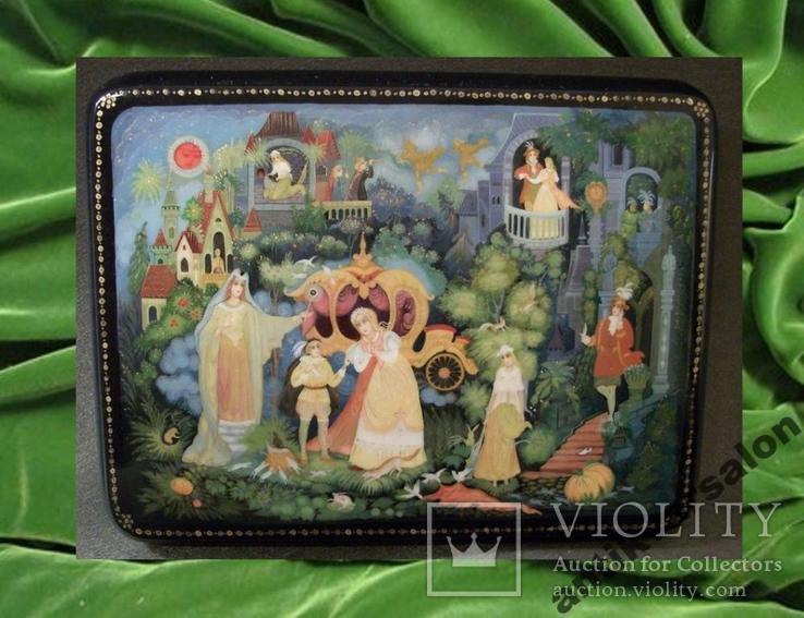 315 Шкатулка Палех, Золушка, ручная роспись., фото №2