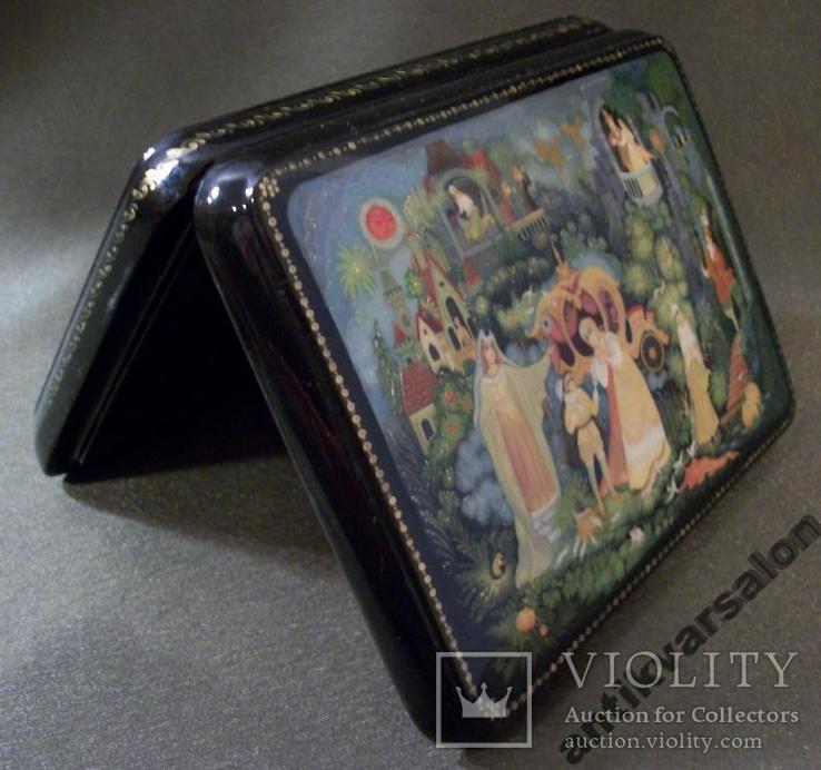 315 Шкатулка Палех, Золушка, ручная роспись., фото №8