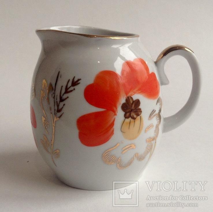 Сливочник / молочник Маки. Фарфор, позолота, Баранивка., фото №2
