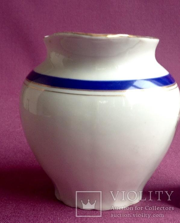 Сливочник / молочник  Синяя кайма. Фарфор, позолота, Баранивка., фото №5