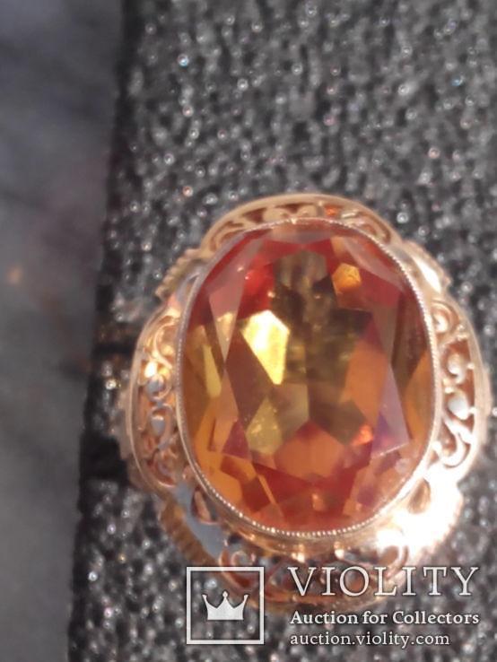 Złoty pierścień 585 14 k 10,43 g Cytryn 15 ct
