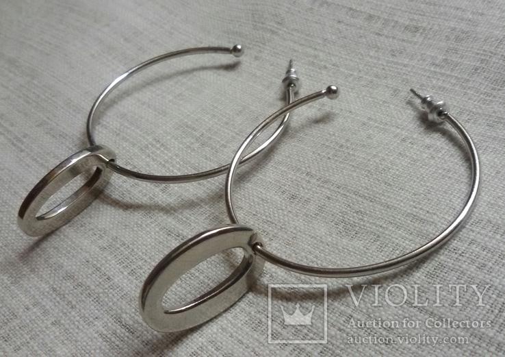Серёжки в виде колечек с подвесками, фото №4