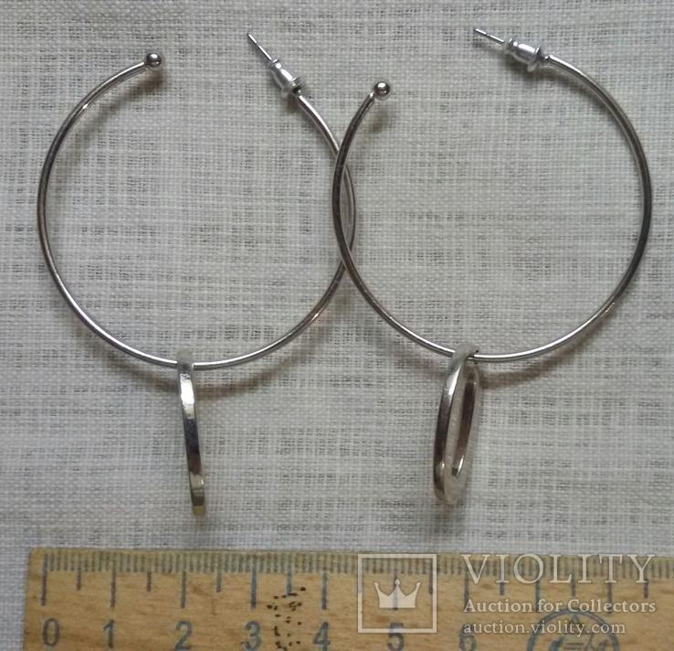 Серёжки в виде колечек с подвесками, фото №6