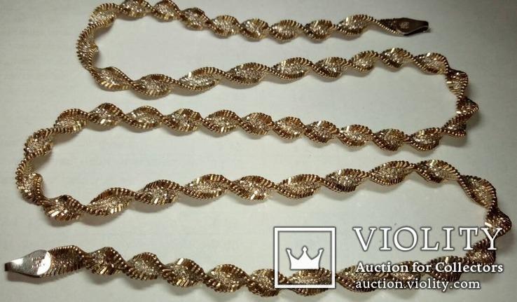 Серебреная цепочка в позолоте Италия, фото №5