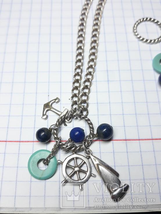 Серебряный набор .браслет,цепочка с кулоном Европа., фото №7