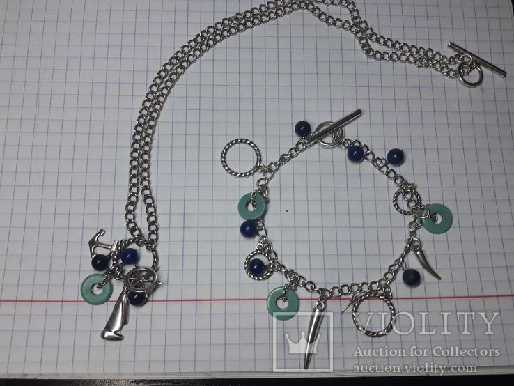Серебряный набор .браслет,цепочка с кулоном Европа., фото №9
