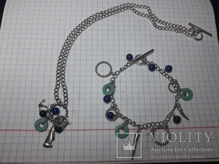 Серебряный набор .браслет,цепочка с кулоном Европа., фото №10