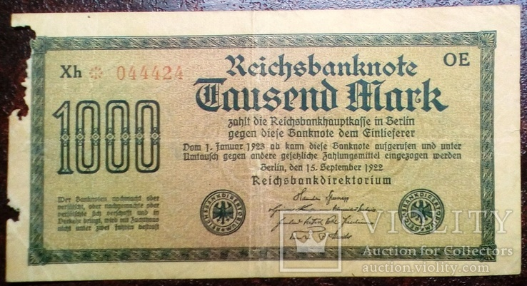 1000 рейхсмарок 1922 г. Германия., фото №2
