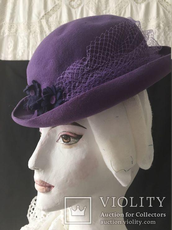 Винтаж шляпка.Примерно 1960-1970 год.Фетр ярко фиолетового, фото №3