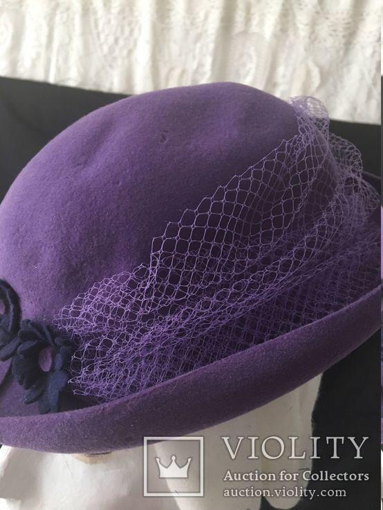 Винтаж шляпка.Примерно 1960-1970 год.Фетр ярко фиолетового, фото №4