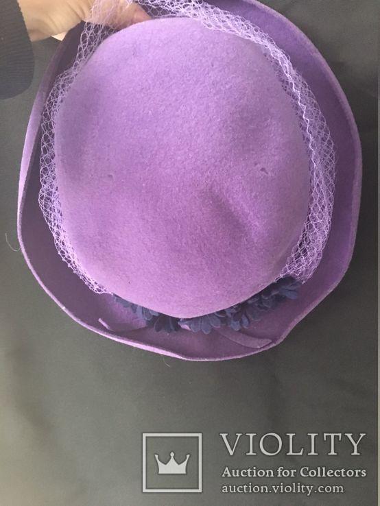 Винтаж шляпка.Примерно 1960-1970 год.Фетр ярко фиолетового, фото №6