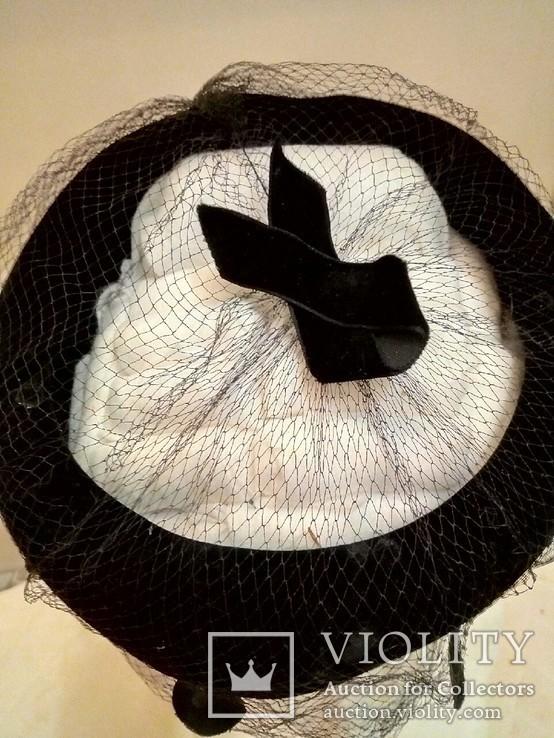 Женская шляпка. Черный фетр. Вуаль с крупными ''мушками '', фото №3