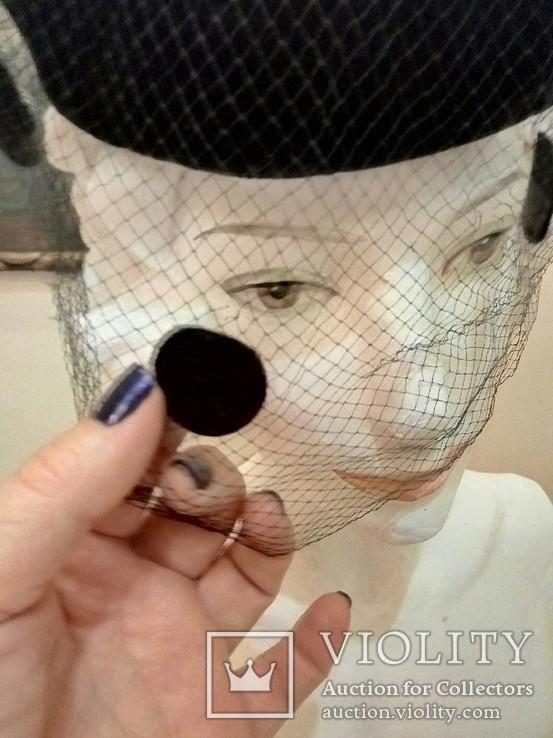 Женская шляпка. Черный фетр. Вуаль с крупными ''мушками '', фото №5